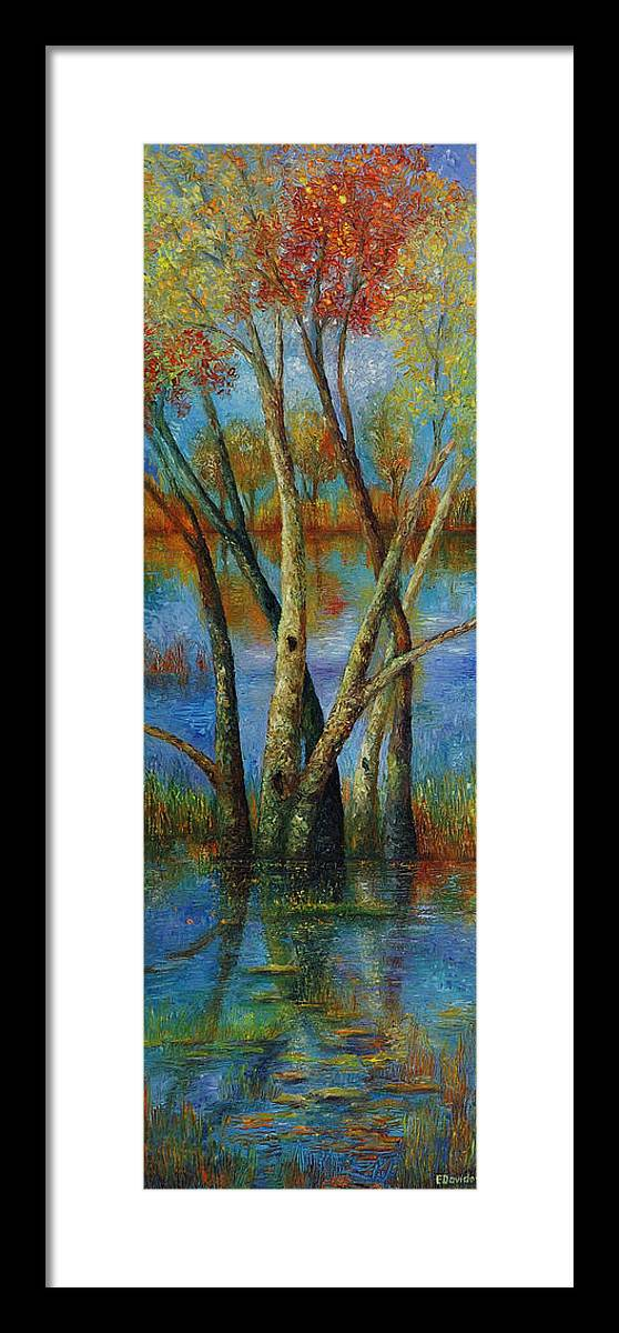 Landscape Framed Print featuring the painting Water - Right Part Of Triptych. by Evgenia Davidov