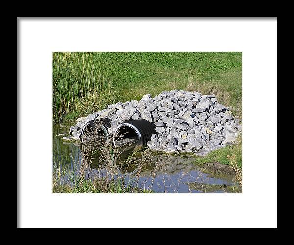 Water Framed Print featuring the photograph Water And Culverts by Richard Mitchell