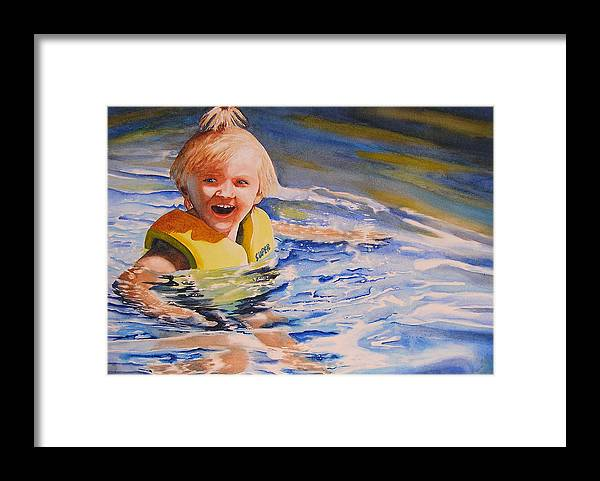 Swimming Framed Print featuring the painting Water Baby by Karen Stark