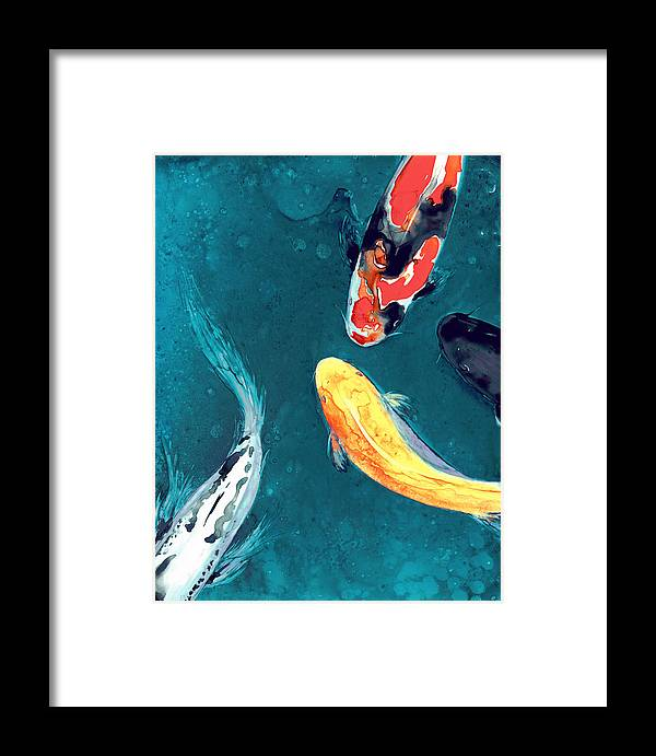 Koi Framed Print featuring the painting Water Ballet by Brazen Design Studio