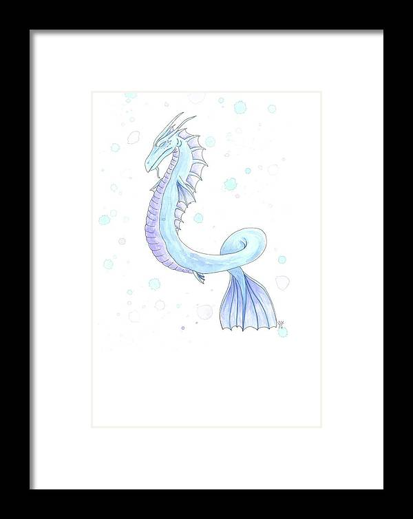 Watercolor Water Dragon Framed Print featuring the painting Water Dragon by Jennifer Johnson