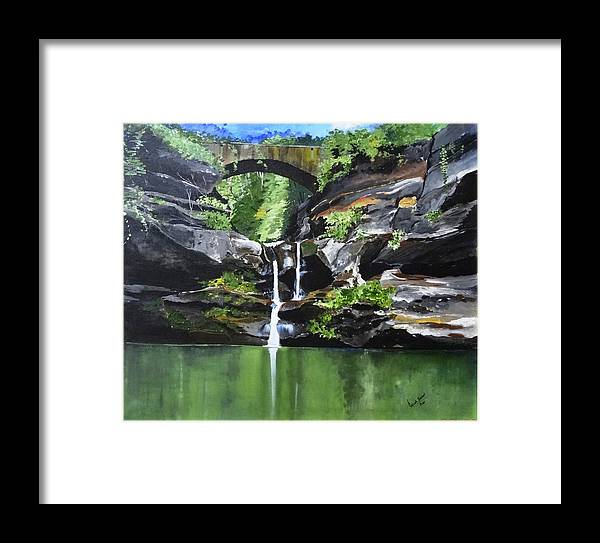 Bridge Framed Print featuring the painting Water Fall by Rajesh Desai