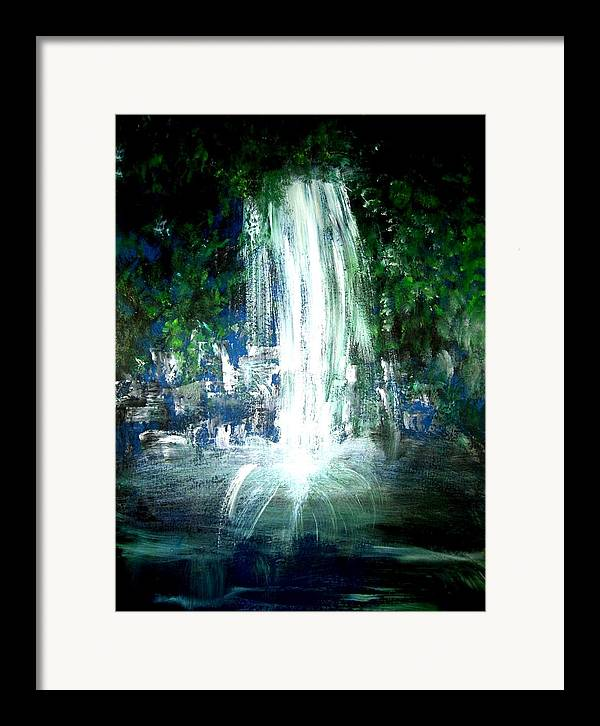Waterfall Framed Print featuring the painting Water Falling by Michela Akers