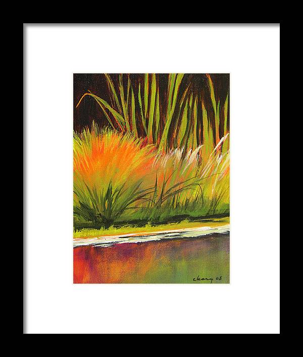 Landscape Framed Print featuring the painting Water Garden Landscape 5 by Melody Cleary