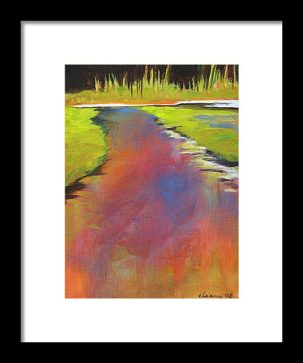 Landscape Framed Print featuring the painting Water Garden Landscape 6 by Melody Cleary