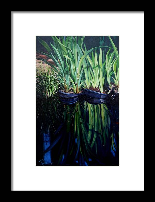 Landscape Framed Print featuring the painting Water Garden Serie-h by Patricia Reed