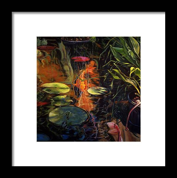 Water Garden Framed Print featuring the painting Water Garden Series A by Patricia Reed