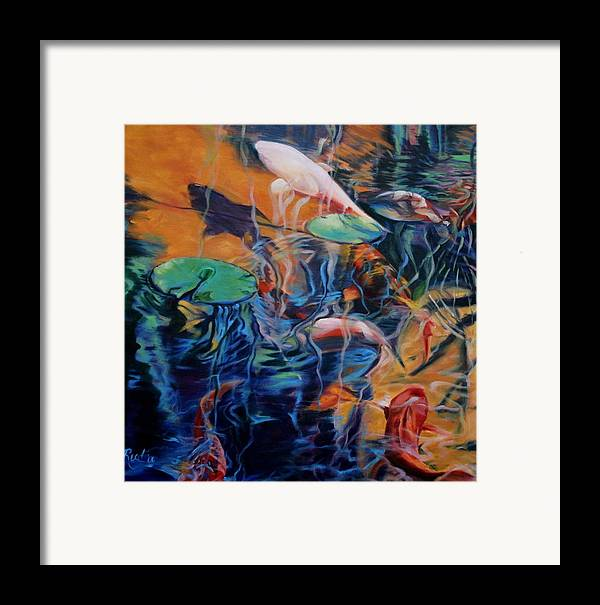 Koi. Water Framed Print featuring the painting Water Garden Series B by Patricia Reed