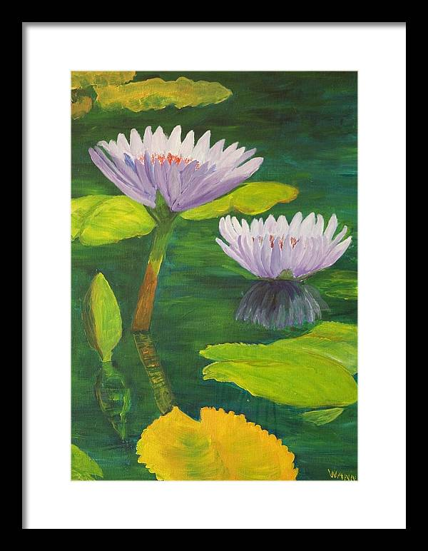 Flower Framed Print featuring the painting Water Lilies by Anita Wann