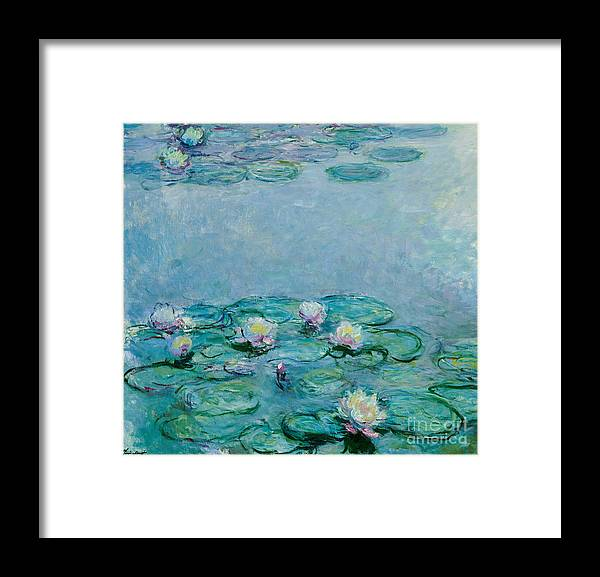 French Framed Print featuring the painting Water Lilies by Claude Monet