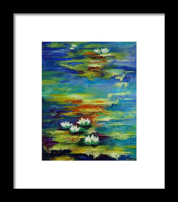 Water Framed Print featuring the painting Water Lilies No 3. by Evgenia Davidov