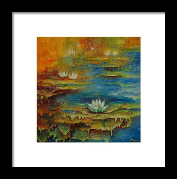 Water Framed Print featuring the painting Water Lilies No 4. by Evgenia Davidov