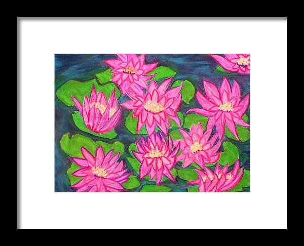 Landscape Framed Print featuring the drawing Water Lillies by Katina Cote