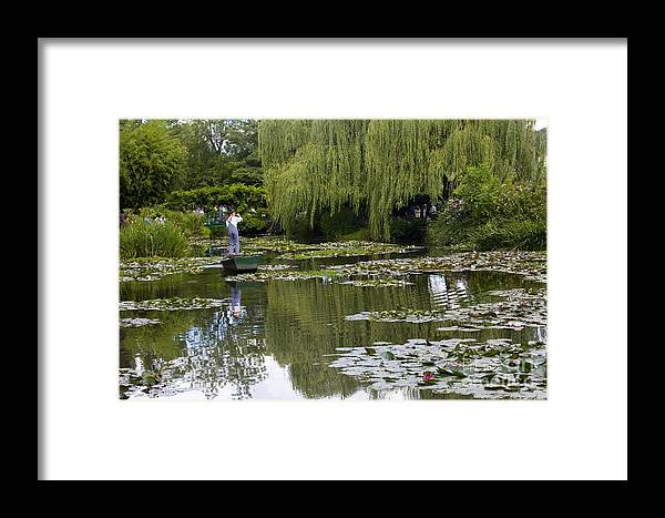 Monet Gardens Giverny France Water Lily Punt Boat Water Willows Framed Print featuring the photograph Water Lily Garden Of Monet In Giverny by Sheila Smart Fine Art Photography
