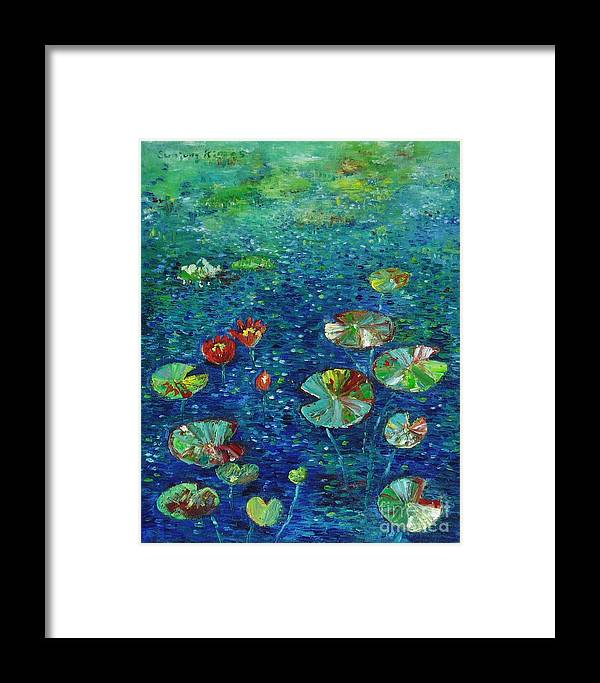 Lotus Paintings Framed Print featuring the painting Water Lily Lotus Lily Pads Paintings by Seon-Jeong Kim