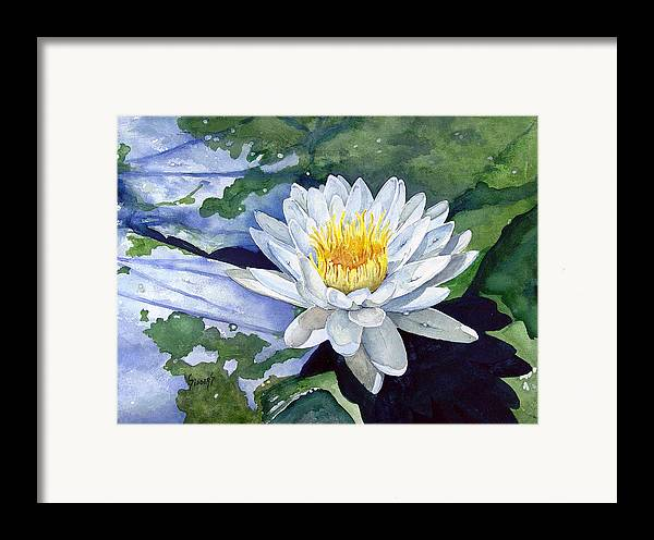Flower Framed Print featuring the painting Water Lily by Sam Sidders