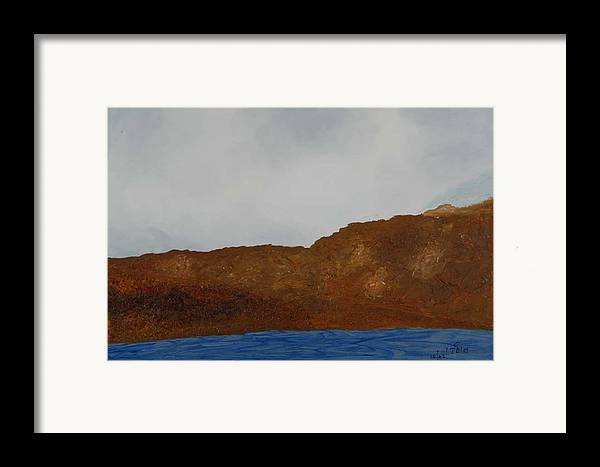 Water Framed Print featuring the painting Water Mountain And Sky  by Harris Gulko