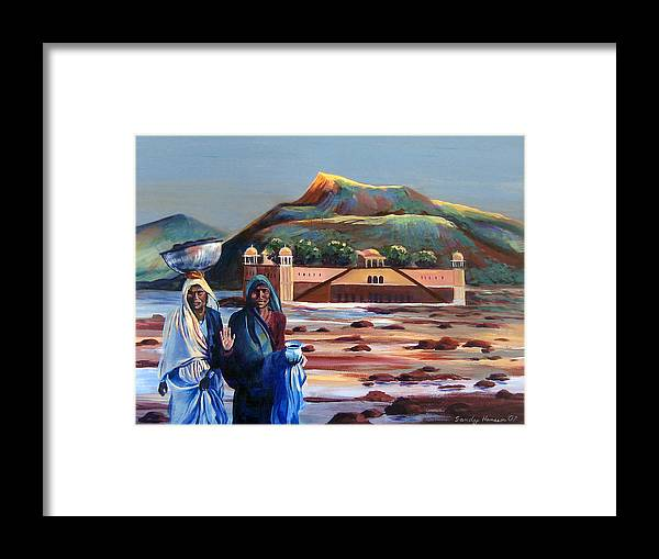 Water Palace Framed Print featuring the painting Water Palace In A Drought by Art Nomad Sandra Hansen