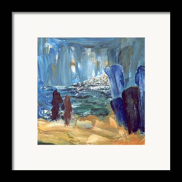 Blue Framed Print featuring the painting Water Rite by Bruce Combs - REACH BEYOND