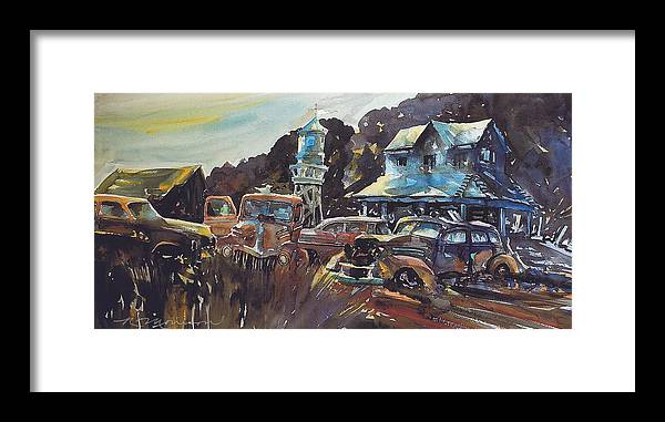 Old Cars Framed Print featuring the painting Water Tower Wardens by Ron Morrison