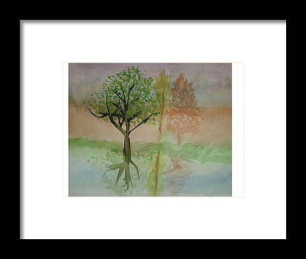 Landscape Framed Print featuring the painting Water Trees by Hal Newhouser