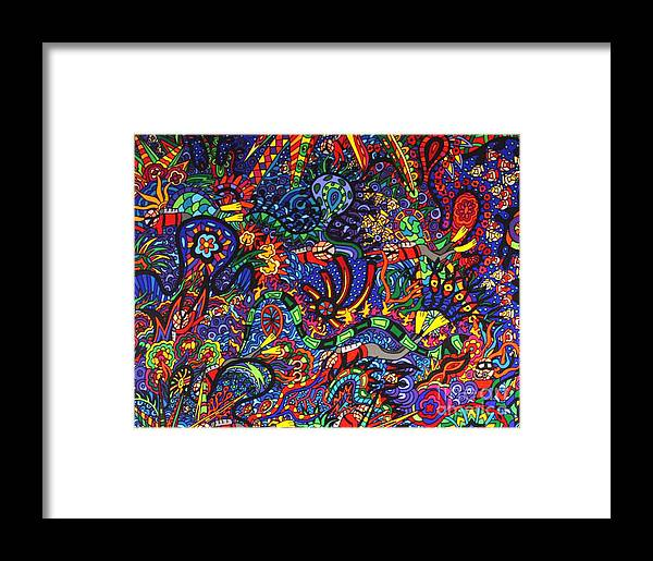 Under Water Art Framed Print featuring the painting Water World by Karen Elzinga