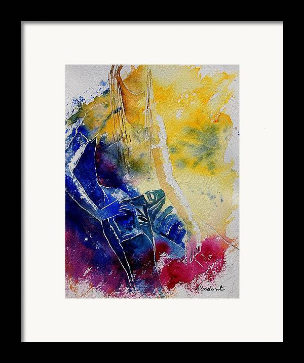 Girl Nude Framed Print featuring the painting Watercolor 21546 by Pol Ledent