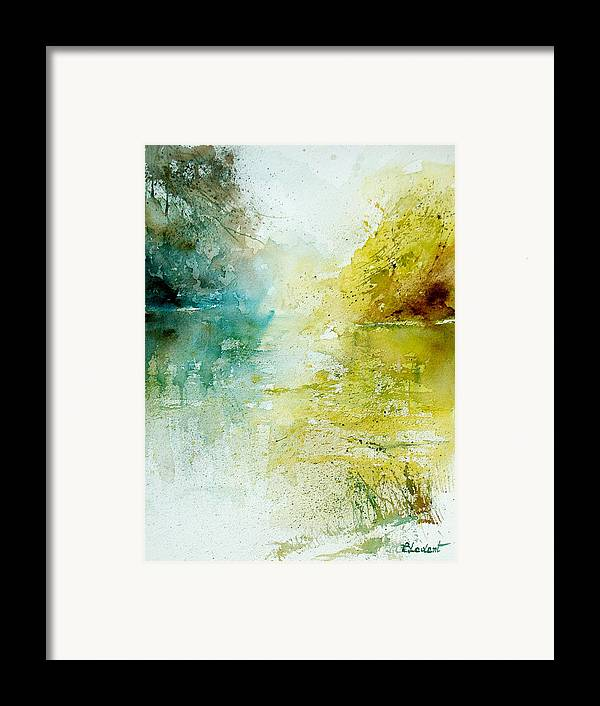 Pond Nature Landscape Framed Print featuring the painting Watercolor 24465 by Pol Ledent
