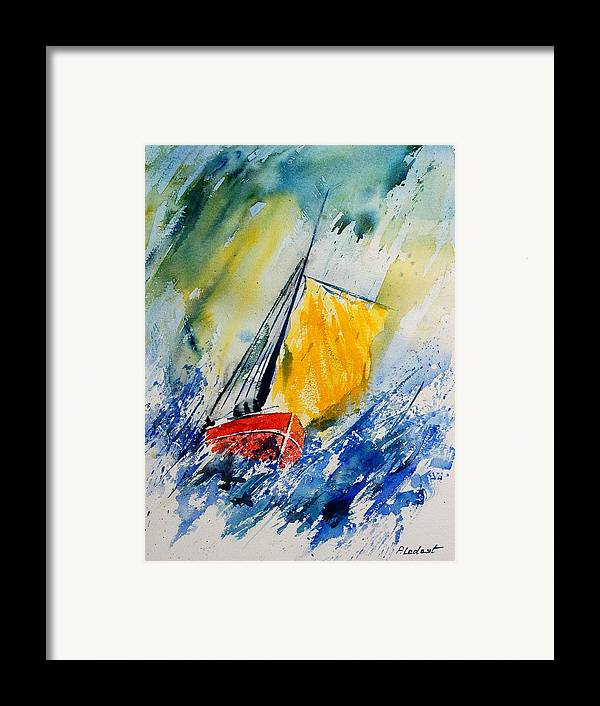 Sea Waves Ocean Boat Sailing Framed Print featuring the painting Watercolor 280308 by Pol Ledent