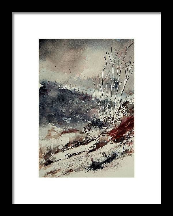 Snow Framed Print featuring the print Watercolor 446 by Pol Ledent