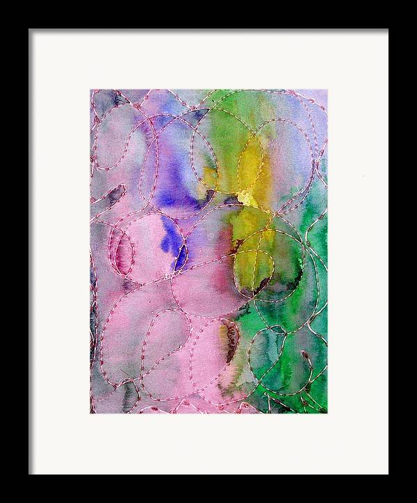 Mixed Media Framed Print featuring the digital art Watercolor And Glue by Margie Byrne