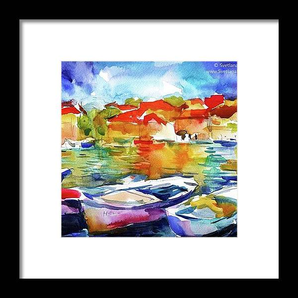 Artist_features Framed Print featuring the photograph Watercolor Boats By Svetlana Novikova ( by Svetlana Novikova