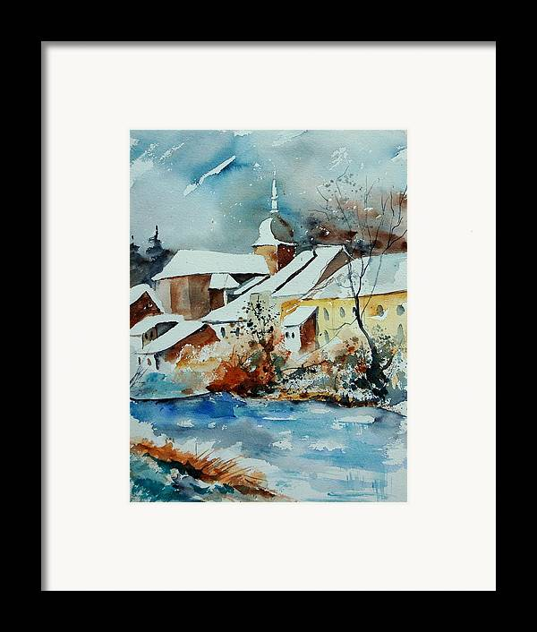 Landscape Framed Print featuring the painting Watercolor Chassepierre by Pol Ledent