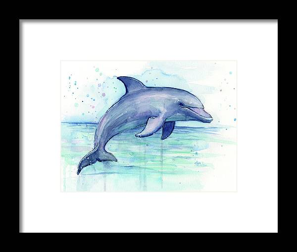 Dolphin Framed Print featuring the painting Watercolor Dolphin Painting - Facing Right by Olga Shvartsur