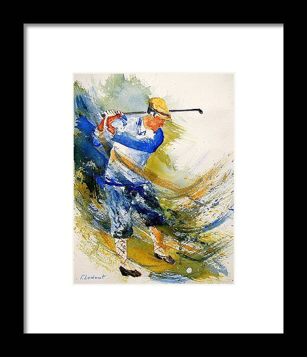 Golf Framed Print featuring the painting Watercolor Golf Player by Pol Ledent