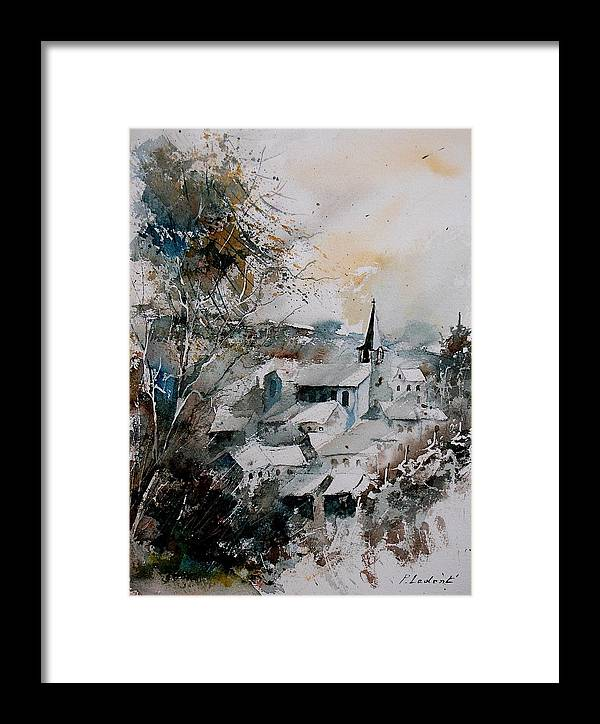 Winter Framed Print featuring the painting Watercolor Houyet by Pol Ledent