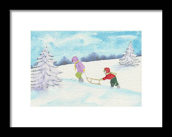 Christmas Framed Print featuring the painting Watercolor Illustration Showing Two Children Pulling Sledge Uphi by Ewa Hearfield