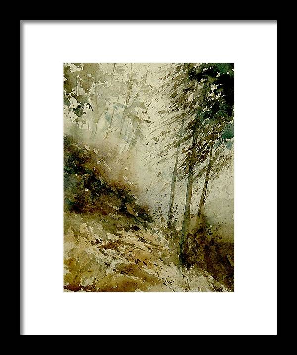 Landscape Framed Print featuring the painting Watercolor Misty Atmosphere by Pol Ledent