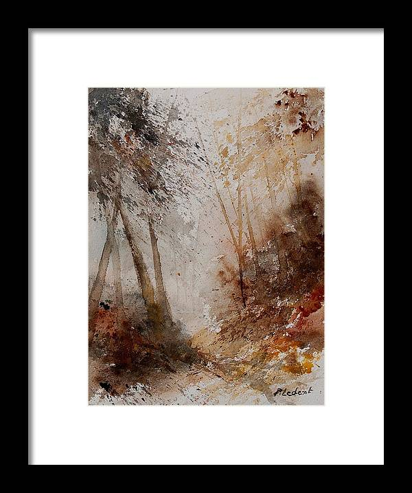 Landscape Framed Print featuring the painting Watercolor Misty Path by Pol Ledent