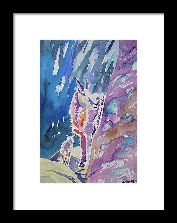Mountain Goat Framed Print featuring the painting Watercolor - Mountain Goat With Young by Cascade Colors
