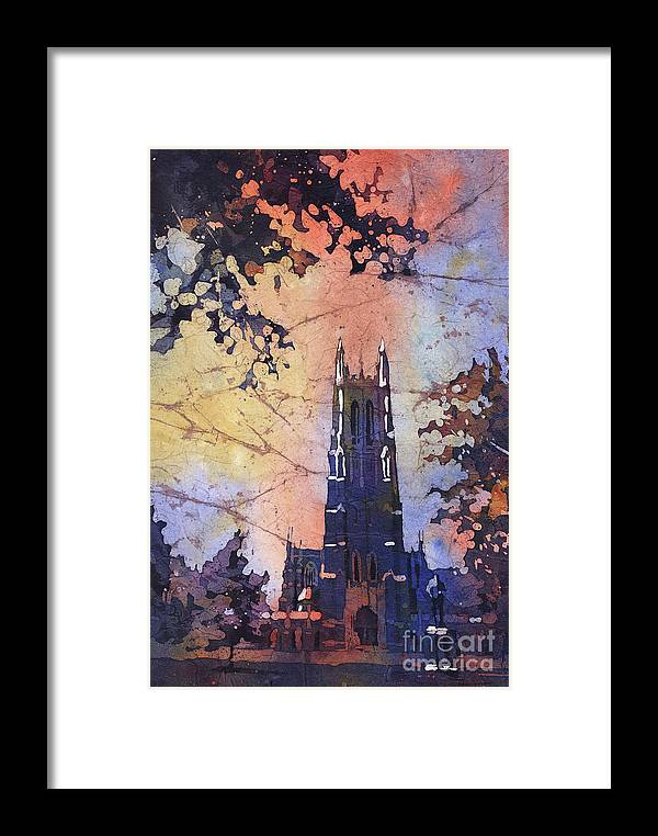 Framed Print featuring the painting Watercolor Painting Of Duke Chapel On The Duke University Campus by Ryan Fox