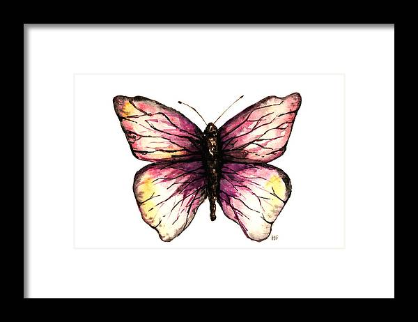 Butterfly Framed Print featuring the painting Watercolor Pink Butterfly by Hannah Sutherland