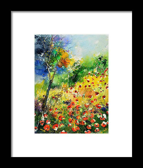 Poppies Framed Print featuring the painting Watercolor poppies 518001 by Pol Ledent
