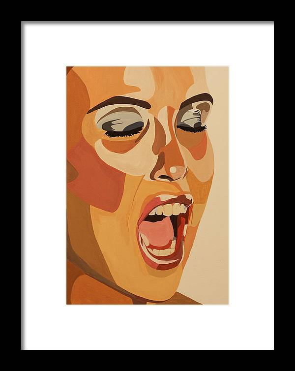 Woman Framed Print featuring the painting Watercolor Scream by Michelle Miron-Rebbe
