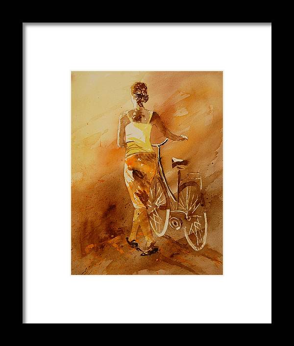 Figurative Framed Print featuring the painting Watercolor With My Bike by Pol Ledent
