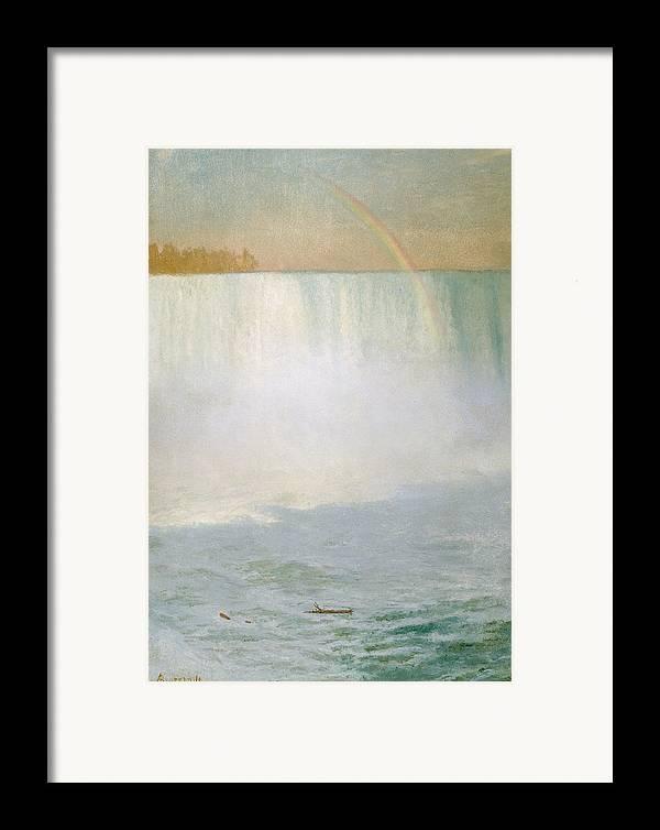 Waterfall And Rainbow Framed Print featuring the painting Waterfall And Rainbow At Niagara Falls by Albert Bierstadt