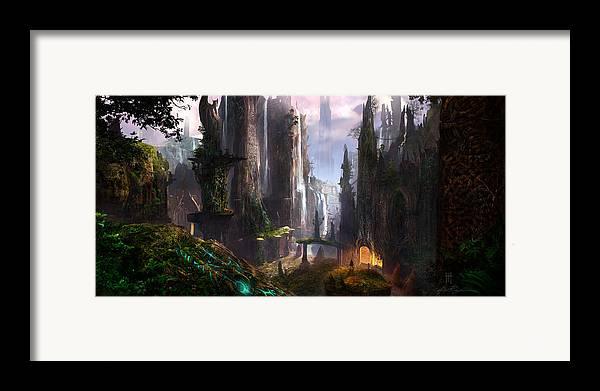 Concept Art Framed Print featuring the digital art Waterfall Celtic Ruins by Alex Ruiz