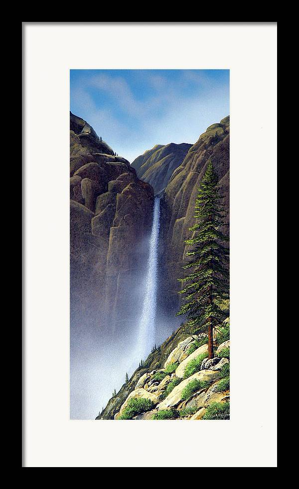 Wilderness Framed Print featuring the painting Waterfall by Frank Wilson