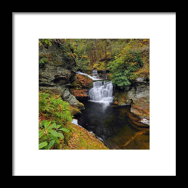 Waterfall Framed Print featuring the photograph Waterfall In Autumn by Stephen Vecchiotti