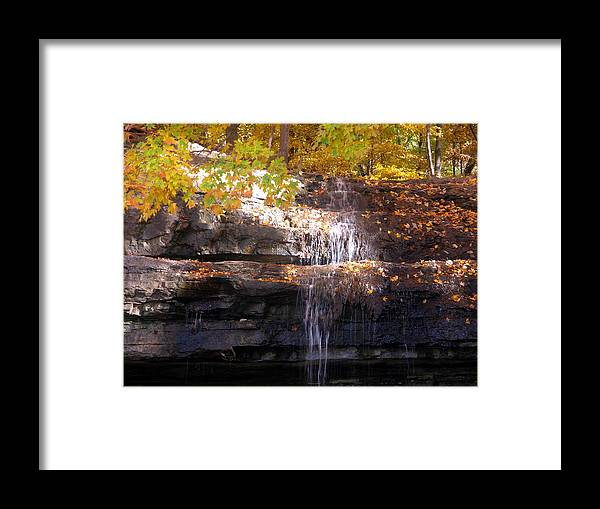 Waterfall Framed Print featuring the photograph Waterfall In Creve Coeur by John Lautermilch